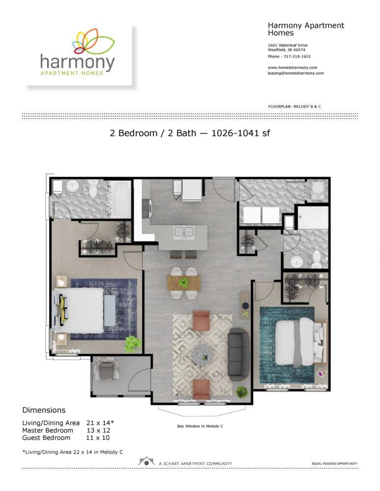 Melody C 2 Bedroom Floor Plan | Harmony Apartment Homes