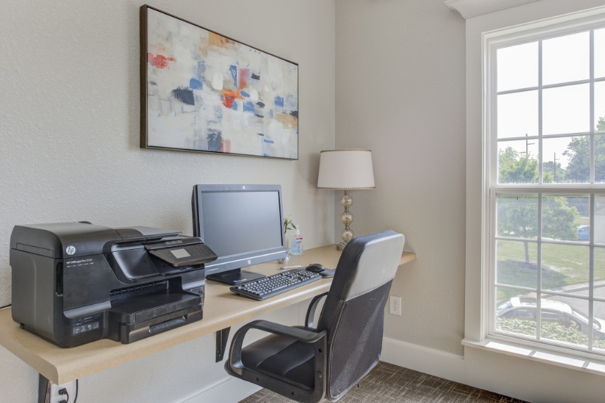 Home office in a Westfield apartment.