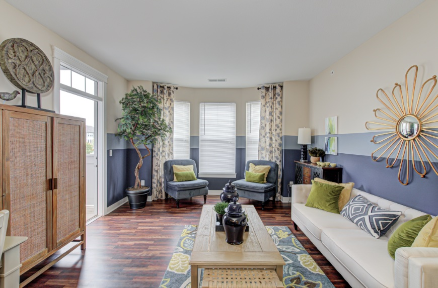 Model Living Room in Westfield apartments.